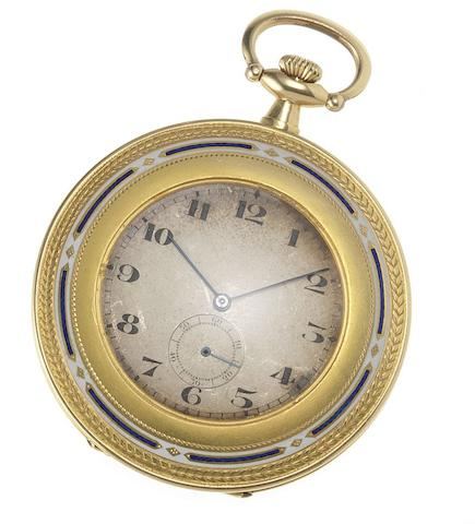 Swiss. An early 20th century 18ct gold and enamel decorated open face pocket watch