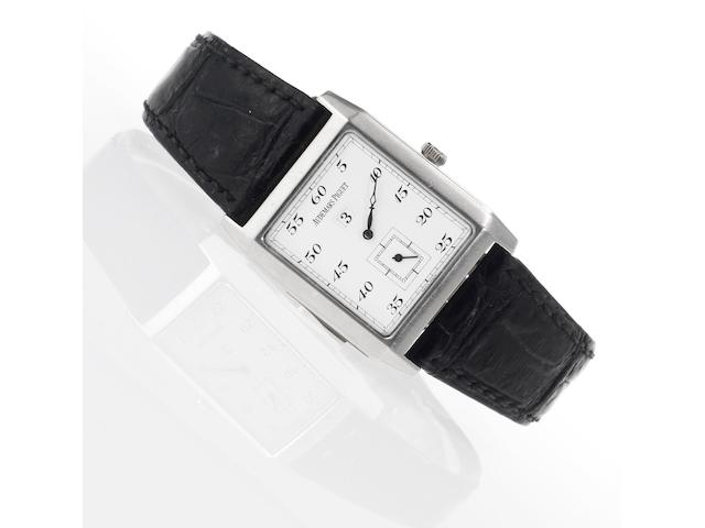 Audemars Piguet. A fine and rare platinum rectangular minute repeating jump hour wristwatchRepetition Minutes, No.3, Case No.D 22174, Circa 1995