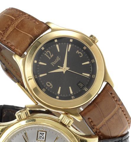 Piaget. An 18ct gold automatic centre seconds calendar wristwatch Case No.801758, Movement No.9600737, Ref:26001, Recent