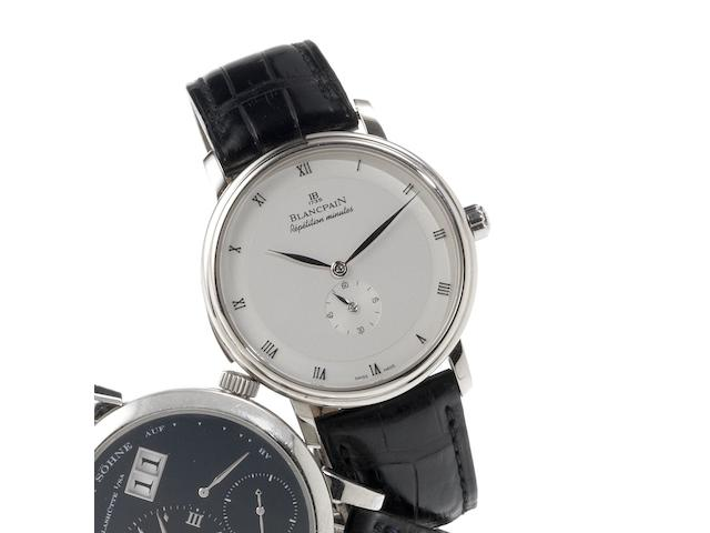 Blancpain. A very fine 18ct white gold automatic minute repeating wristwatch together with deployant clasp  Villeret, Repetition Minutes, Recent