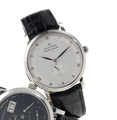 Blancpain. A very fine 18ct white gold automatic minute repeating wristwatch together with deployant claspVilleret, Repetition Minutes, Recent