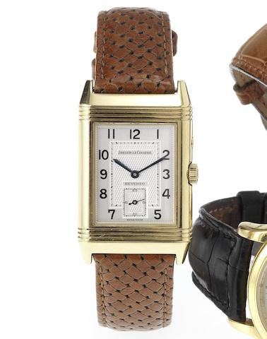 Jaeger LeCoultre. A fine 18ct gold dual dial reversible wristwatch Reverso, Night-Day, 1990's