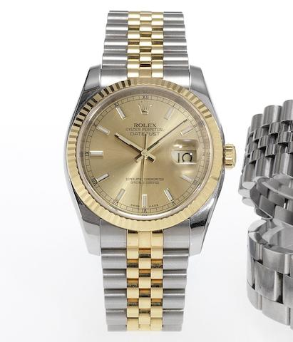Rolex. A fine stainless steel and gold automatic centre seconds calendar bracelet watchDatejust, Made in 2007