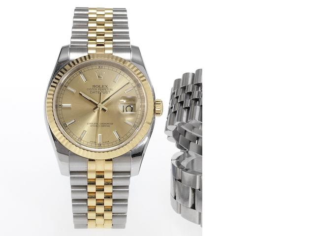 Rolex. A fine stainless steel and gold automatic centre seconds calendar bracelet watch Datejust, Made in 2007
