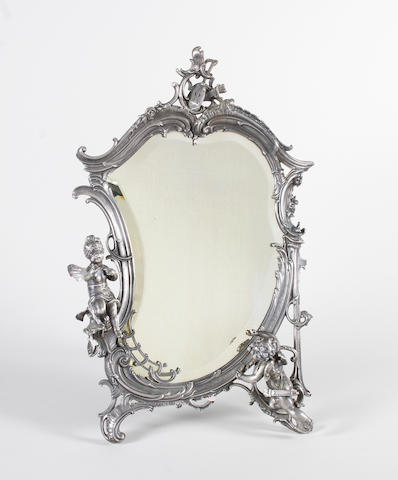 A cast metal dressing table mirror in the W.M.F. style, 20th century