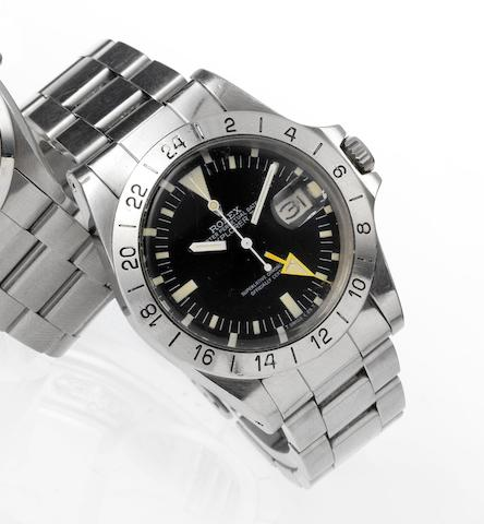 Rolex. A fine stainless steel centre seconds automatic wristwatch with 24-hour bezel and orange handExplorer II, Ref:1655 Case No.7655372, Made in 1982
