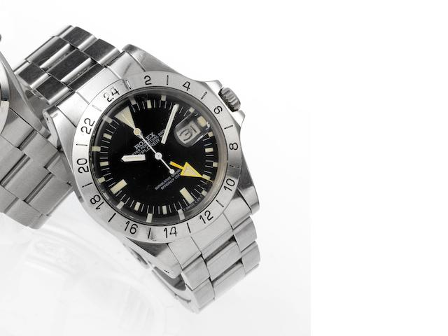 Rolex. A fine stainless steel centre seconds automatic wristwatch with 24-hour bezel and orange hand Explorer II, Ref:1655 Case No.7655372, Made in 1982
