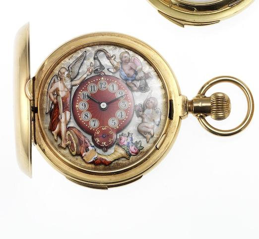 Marchand & Sandoz. A fine and rare minute repeating Jaquemart pocket watchCirca 1890