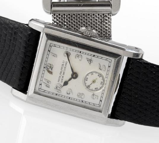 Patek Philippe. A fine and rare platinum rectangular wristwatch with Breguet numerals and Extract from Archives Case No.607932, Movement No.821202, Made in 1929, Sold July 12th 1930