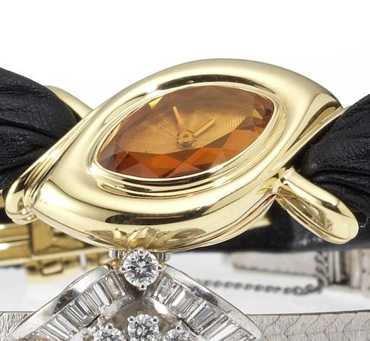 Audemars Piguet. A fine lady's 18ct gold wristwatch with faceted citrine dialCase No.C32874, 1980's