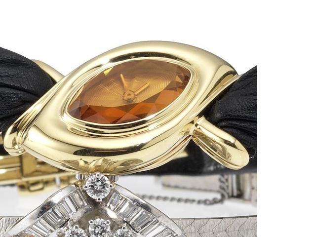 Audemars Piguet. A fine lady's 18ct gold wristwatch with faceted citrine dial Case No.C32874, 1980's