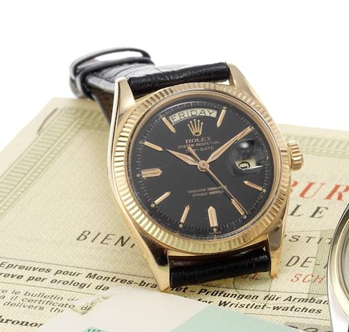 Rolex. A fine and rare 18ct rose gold automatic centre seconds calendar wristwatchDay-Date, Ref:1803, Made in 1961, Sold April 18th 1963
