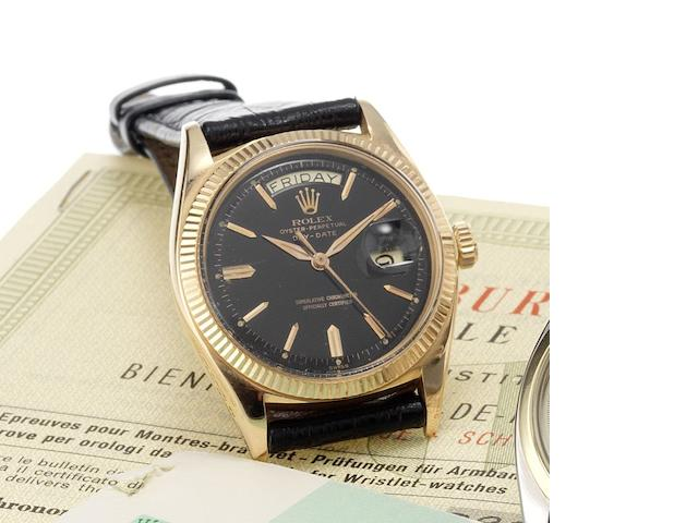 Rolex. A fine and rare 18ct rose gold automatic centre seconds calendar wristwatch Day-Date, Ref:1803, Made in 1961, Sold April 18th 1963