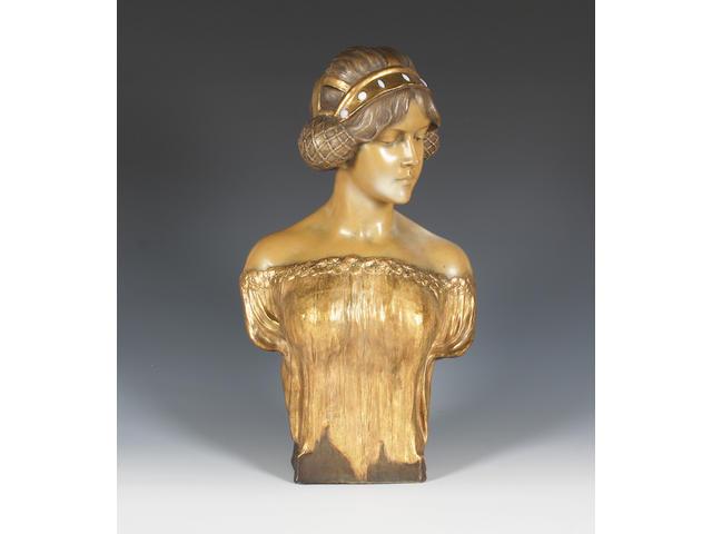 A Goldscheider terracotta bust of a young woman Circa 1900.