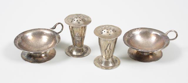 An A. E. Jones silver four piece cruet set Birmingham, 1903,