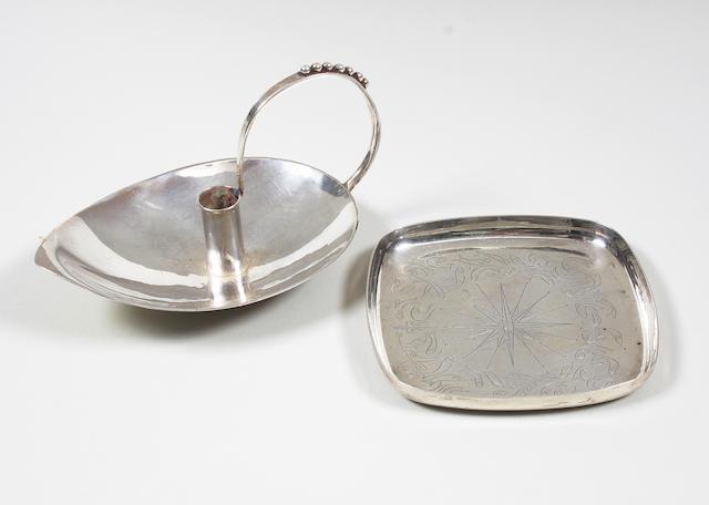 A George Tarratt silver pin dish designed by Geoffrey G. Bellamy London, 1955, with designer's facsimile signature,