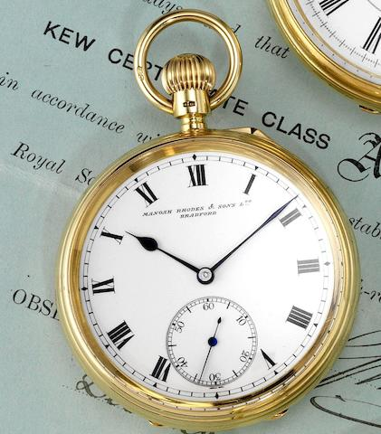 A fine late 19th century 18ct gold open face centre seconds pocket watch together with Kew A Observatory MarksLondon Hallmark for 1910, Movement No.24320