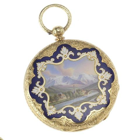 Le Comte, Geneve. A late 19th century 18ct gold enamel open face fob watch