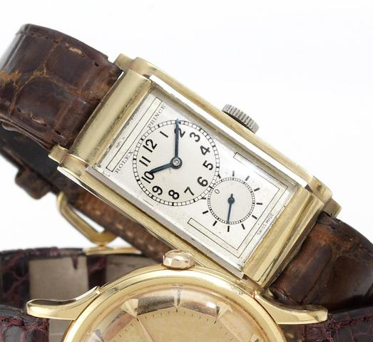 Rolex. A fine and rare 9ct two colour gold rectangular wristwatchPrince, Ref:1862, Case No.16339, Glasgow Import mark for 1934