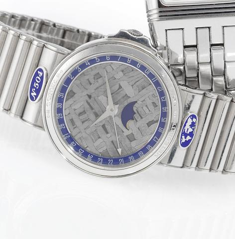 Corum. A rare platinum & white gold calendar bracelet watch with moon phases and rare dial made of meteorite found by Robert E.Peary in Cape York, Greenland  Meteorite Peary, Case No.493603, No.504, 1990's