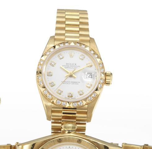 Rolex. A lady's 18ct gold diamond set automatic centre seconds calendar bracelet watch together with fitted presentation box Datejust, Circa 1991