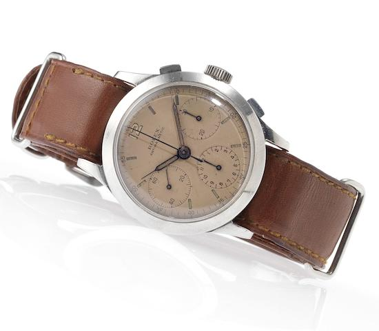 Rolex. A fine and rare stainless steel chronograph wristwatchRef:3335, Case No.041606, Circa 1939