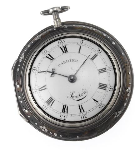 Cabrier. A fine and rare silver and underpainted horn triple case pocket watch London Hallmark for 1794