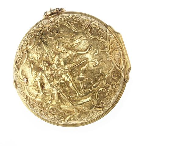 John King. A fine early 18th century 22ct gold repousse pocket watch London Hallmark for 1730, Case No.2218