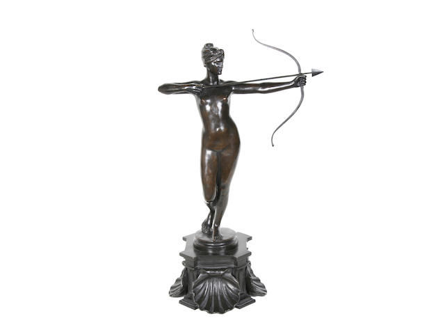After Countess Feodora Von Gleichen (1861-1922): A bronze model of Diana