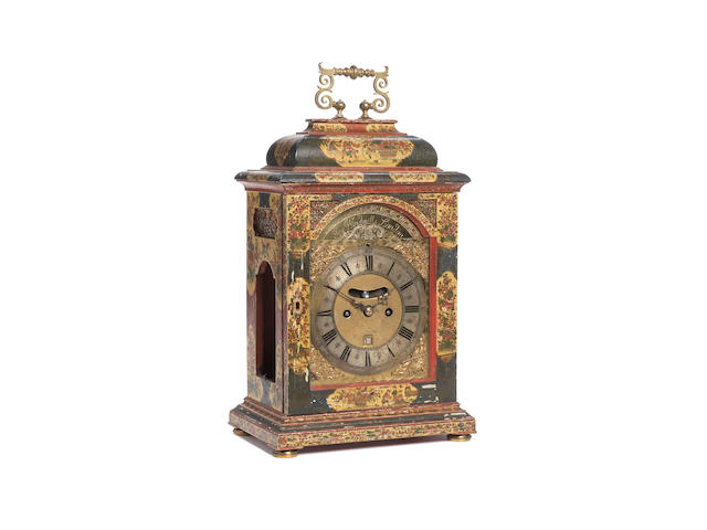 A fine and rare early 18th century chinoiserie decorated bracket clock with original key J. Windmill