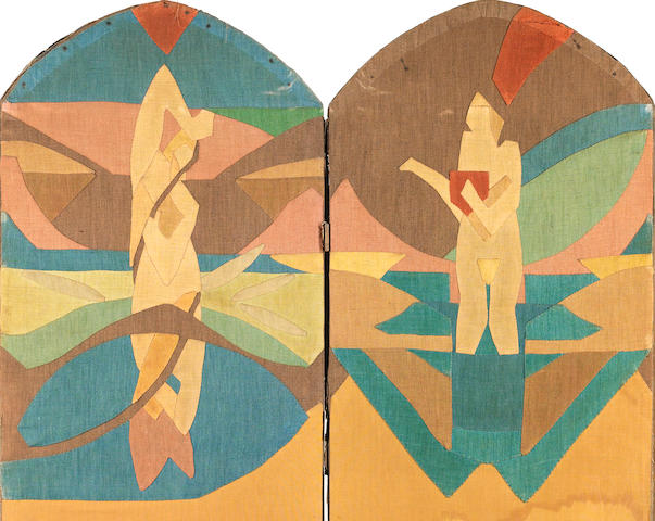Claude Flight (British, 1881-1955) The Four Seasons A four panelled screen, with applique designs fo