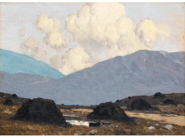 Paul Henry R.H.A. (1876-1958) Landscape with turfstacks 20.7 x 28 cm. (8 1/4 x 11 in.)
