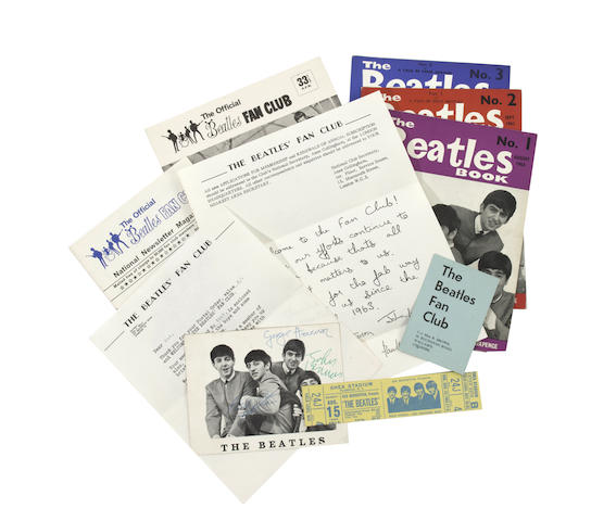 A collection of Beatles Fan Club memorabilia, 1960s,
