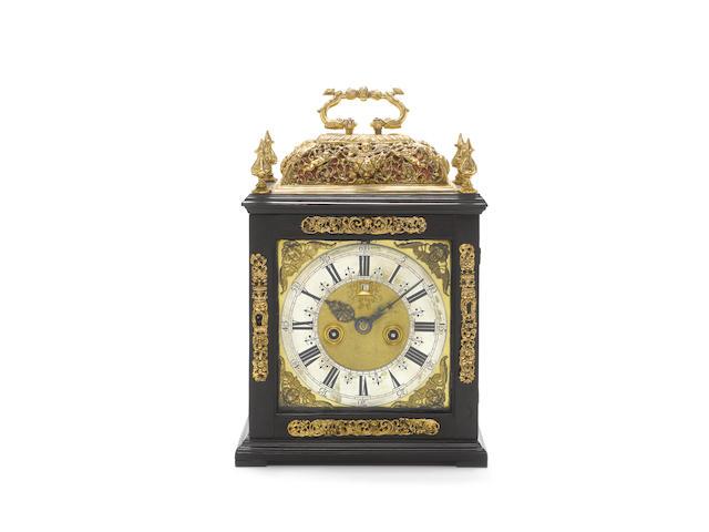 A good late 17th century ebony basket-topped bracket clock Jacobus Hassenius, Londini