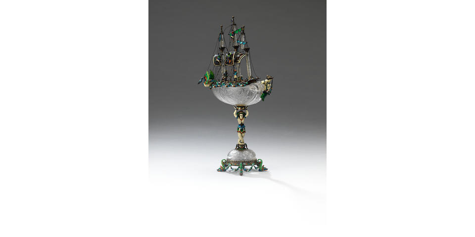 A late 19th century Austrian silver, enamelled, jewelled and rock crystal neff, by Karl Ratzersdorffer, Vienna, circa 1890,