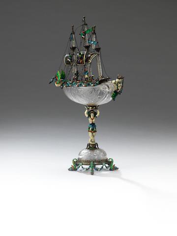 A late 19th century Austrian silver, enamelled, jewelled and rock crystal neff, by Karl Ratzersdorffer, Vienna, circa 1890,