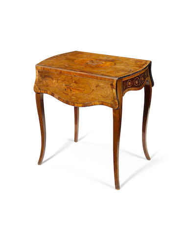 A George III rosewood, satinwood, fiddleback mahogany and marquetry Pembroke Table attributed to Christopher Fuhrlohg