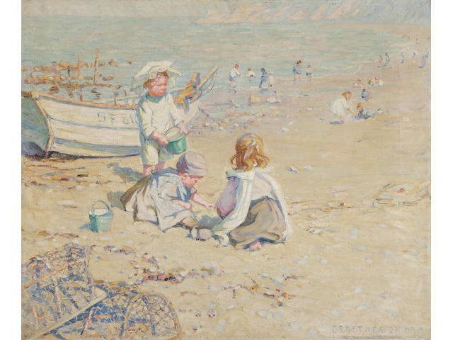 Dorothea Sharp (British, 1874-1955) Children digging on the beach