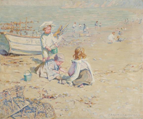 Dorothea Sharp (British, 1874-1955) Children digging on the beach