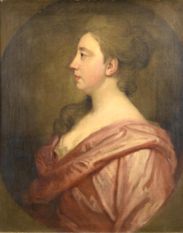 Sir Godfrey Kneller (Lübeck 1646-1723 London) Portrait of a lady in profile, said to be Mary Buckeridge,