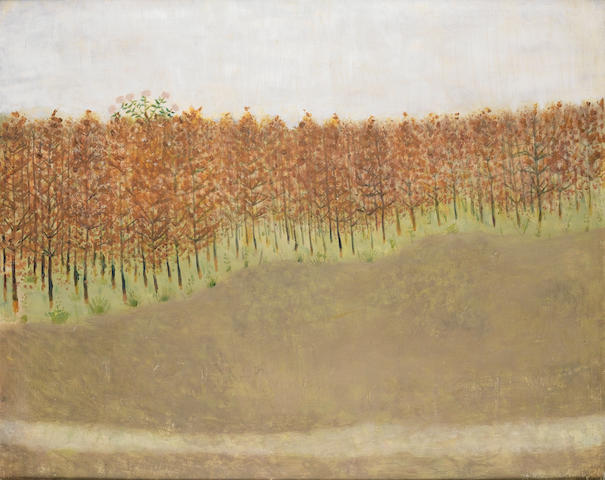 Mary Newcomb (British, 1922-2008) Poplars 61 x 76.2 cm. (24 x 30 in.)