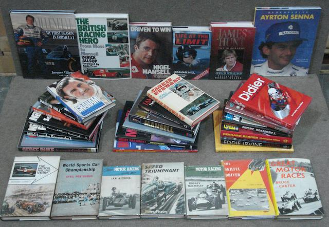 A quantity of books relating to racing drivers,