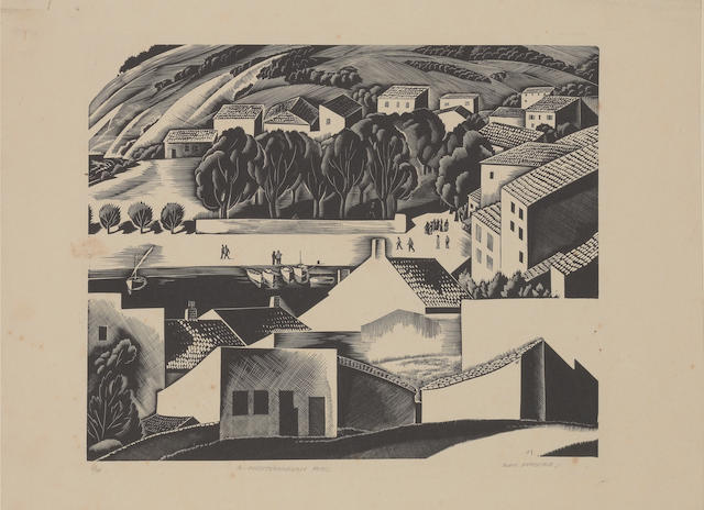 Iain MacNab (British, 1890-1967) A Mediterranean Port Wood engraving, on thin cartridge, signed, tit
