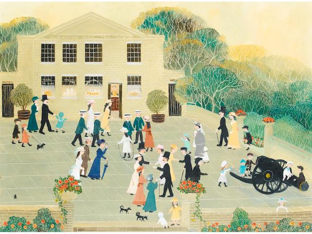 Helen Bradley (British, 1900-1979) On warm sunday evenings we walked in the park 44.5 x 59.5 cm. (17 1/2 x 23 1/2 in.)