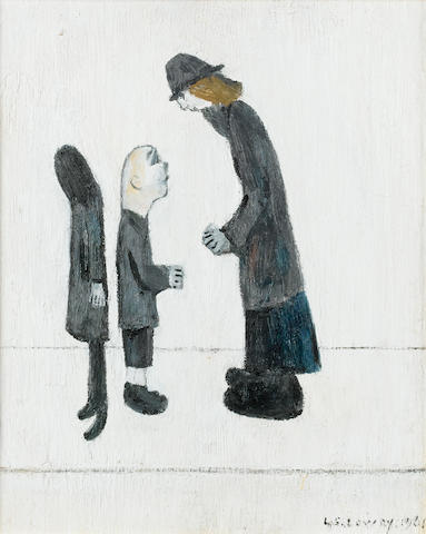 Laurence Stephen Lowry, R.A. (British, 1887-1976) The Encounter 28 x 23 cm. (11 x 9 in.)
