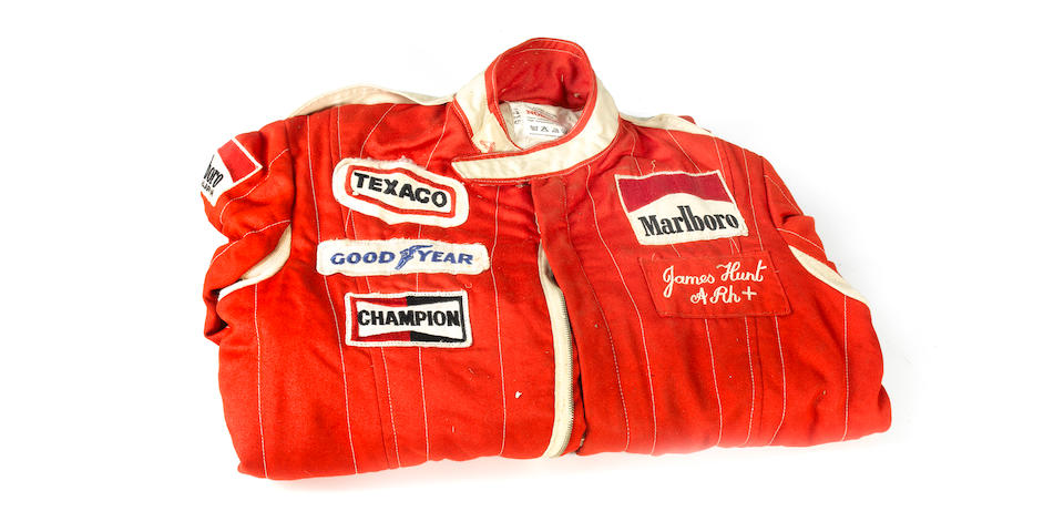 A pair of James Hunt's overalls, used during the 1976 World Championship winning season,