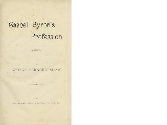 SHAW (GEORGE BERNARD) Cashel Byron's Profession. A Novel