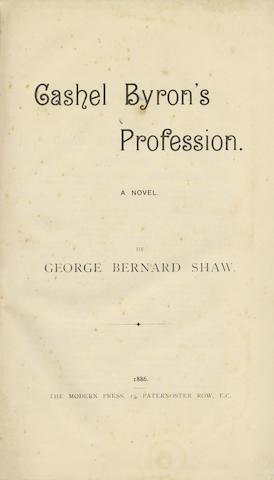 SHAW (GEORGE BERNARD) Cashel Byron's Profession. A Novel