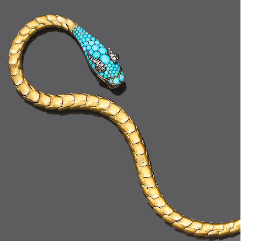 A gold, turquoise and diamond serpent necklace,