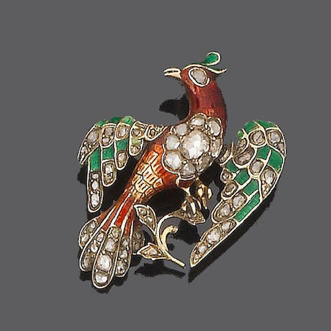 An enamel and diamond bird brooch